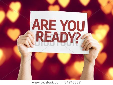 Are You Ready? card with heart bokeh background
