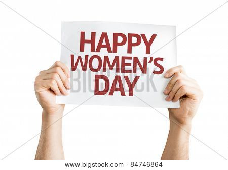 Happy Women's Day card isolated on white background