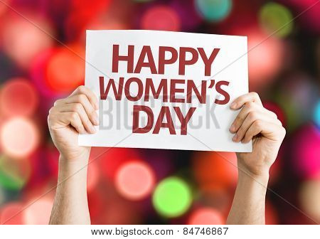 Happy Women's Day card with colorful background with defocused lights