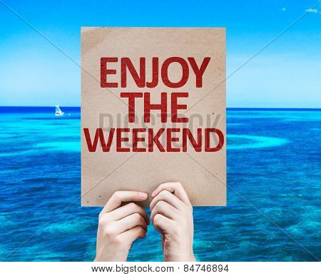 Enjoy the Weekend card with beach background