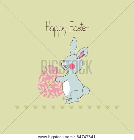 easter card with bunny on green background