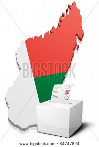 detailed illustration of a ballotbox in front of a map of Madagascar, eps10 vector