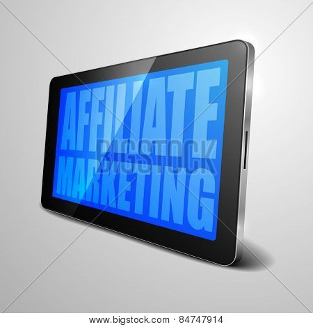 detailed illustration of a tablet computer device with Affiliate Marketing text, eps10 vector