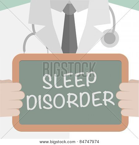 minimalistic illustration of a doctor holding a blackboard with Sleep Disorder text, eps10 vector