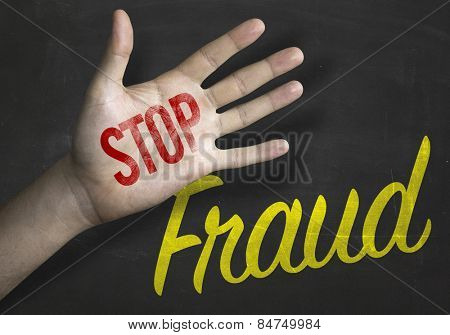 Stop Fraud educacional message on blackboard