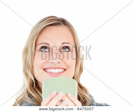 Radiant Caucasian Woman Enjoying Her Coffee