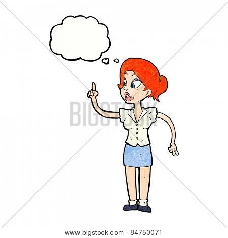 cartoon woman with great idea with thought bubble