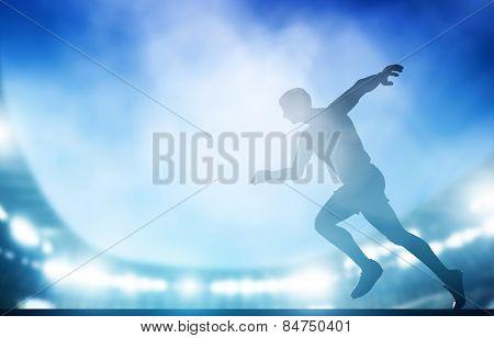 Start of the run on the stadium in night lights. Athletics, win, winner, success, victory.