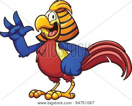Cartoon golden pheasant. Vector clip art illustration with simple gradients. All in a single layer.