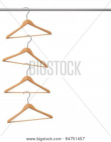 Coat Hangers Hanging On A Clothes Rail. Vector.