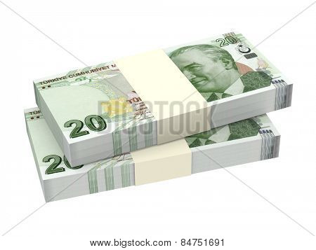 Turkish lira isolated on white background. Computer generated 3D photo rendering.