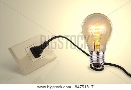 Light bulb and a plug with a cord