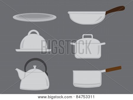 Pots And Pans Kitchen Utensil Vector Icon Set