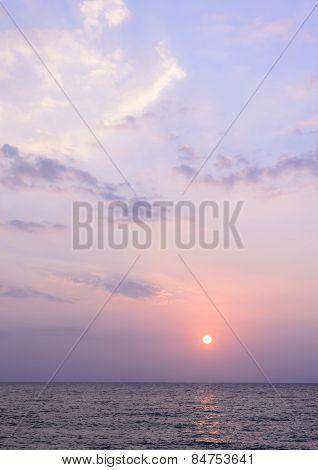 Colorful Sunset At  Khao Lak Beach In Phang Nga, Thailand