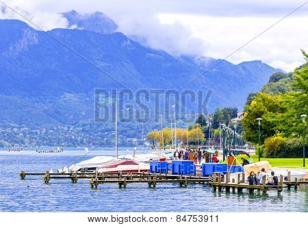 Boat Marina In Resort Of Annecy