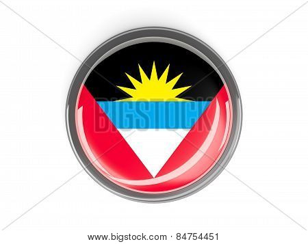 Round Button With Flag Of Antigua And Barbuda