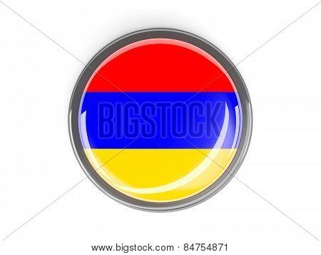 Round Button With Flag Of Armenia