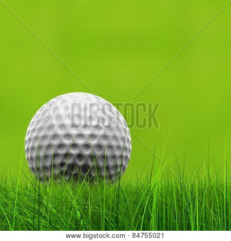Green fresh natural 3d conceptual grass field on blur background with a golf ball at horizon metaphor to club, sport, business, recreation, play, summer, competition, competition, game or fun design