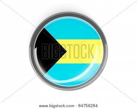 Round Button With Flag Of Bahamas