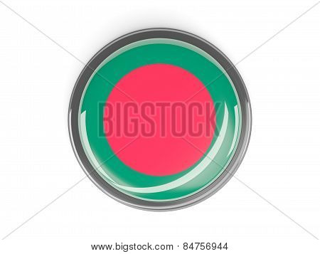 Round Button With Flag Of Bangladesh