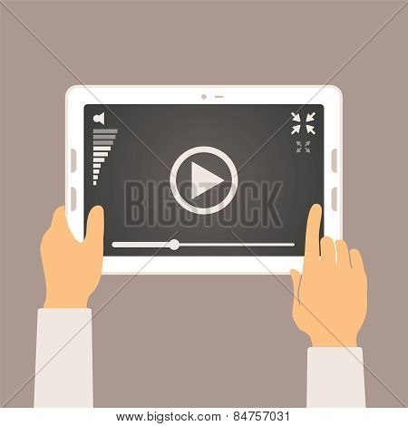Vector Concept Of Video Player Mobile Application