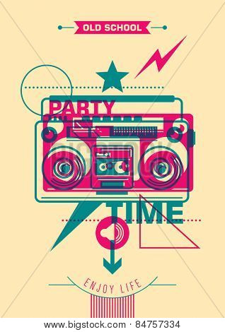 Party poster design with colorful abstraction. Vector illustration.