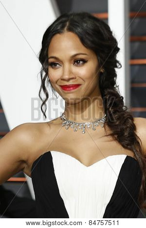 LOS ANGELES - FEB 22:  Zoe Saldana at the Vanity Fair Oscar Party 2015 at the Wallis Annenberg Center for the Performing Arts on February 22, 2015 in Beverly Hills, CA