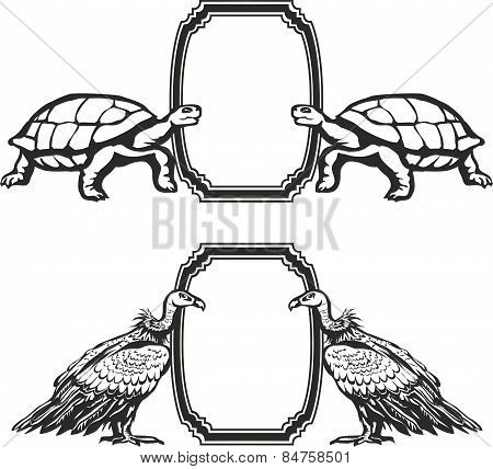 Vulture, turtle, vector.