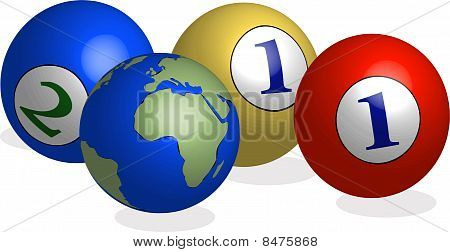 2011 balls and world in 3d illustration vector