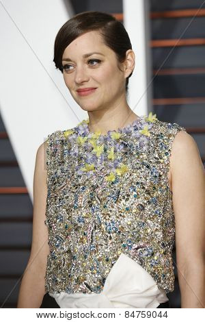 LOS ANGELES - FEB 22:  Marion Cotillard at the Vanity Fair Oscar Party 2015 at the Wallis Annenberg Center for the Performing Arts on February 22, 2015 in Beverly Hills, CA