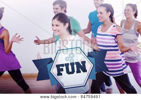The word fun and cheerful fitness class and instructor doing pilates against hexagon