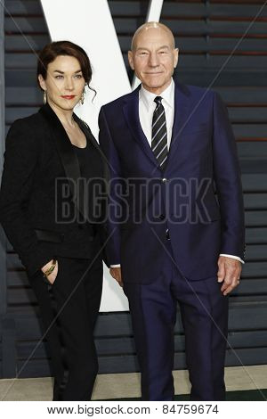 LOS ANGELES - FEB 22:  Sunny Ozell, Patrick Stewart at the Vanity Fair Oscar Party 2015 at the Wallis Annenberg Center for the Performing Arts on February 22, 2015 in Beverly Hills, CA