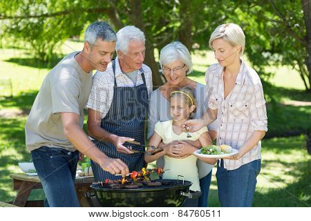 Happy family doing barbecue in the park on a sunny day