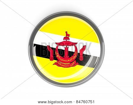 Round Button With Flag Of Brunei