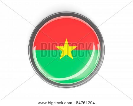 Round Button With Flag Of Burkina Faso