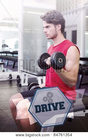 The word drive and fit man lifting heavy black dumbbells against hexagon