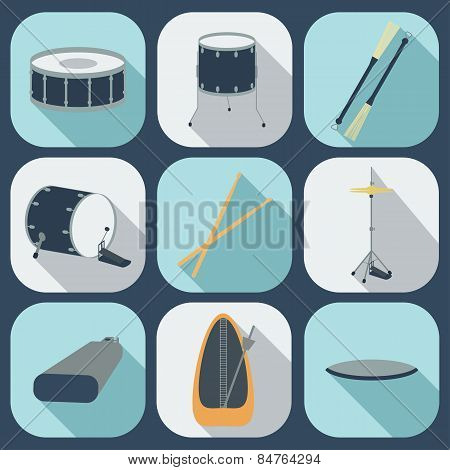 Drum Flat Icons. Vector
