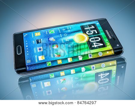 MOSCOW, RUSSIA- Feb 26, 2014: Samsung Galaxy Note Edge.World's first smartphone it is distinguished by a display that curves across the right side of the device.Illustrative editorial only.