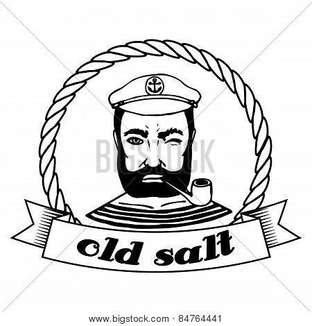 Marine Doodle Label. Seaman. Isolated. Vector