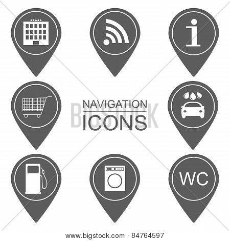 Set Of Navigation Icons. Silhouette Icons. Scope Of Services. Vector
