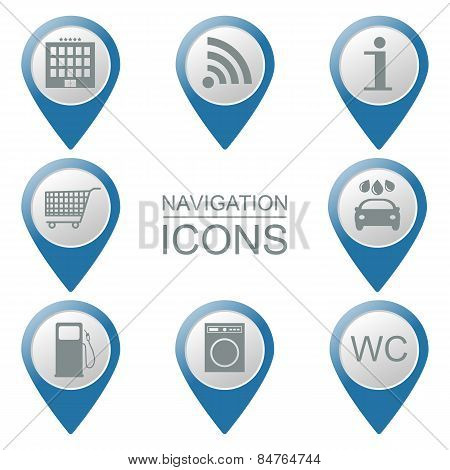 Set Of Navigation Icons.  Volumetric. Public Institutions. Vector