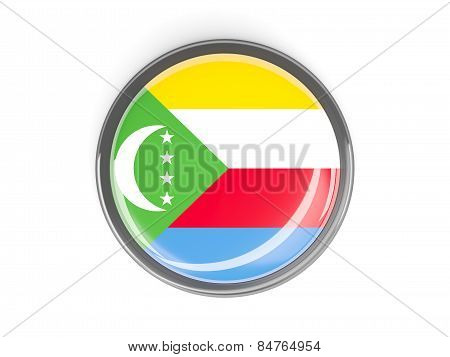 Round Button With Flag Of Comoros