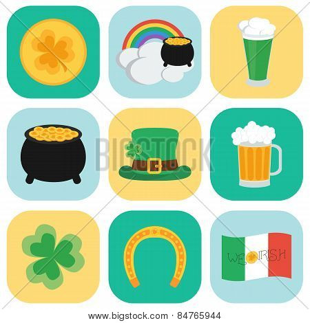Set Of Icons On St. Patrick's Day. Flat Style. Vector