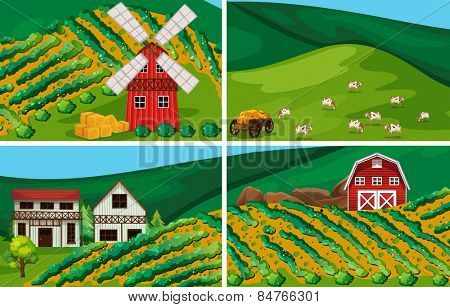 farmland with windmill and barn