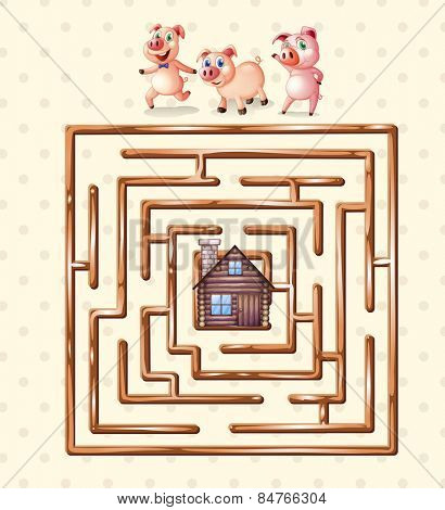 boardgame template with pigs and hut