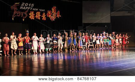 Pintung County, Taiwan - February 19,2015: Aboriginal Taiwanese Tribes In Traditional Attire At The