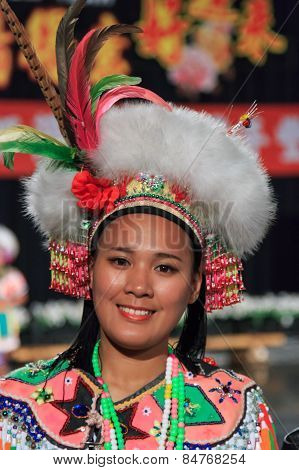 Pintung County, Taiwan - February 19,2015: Aboriginal Taiwanese Woman In Traditional Attire At The T