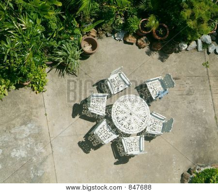 Table and chairs in the backyard