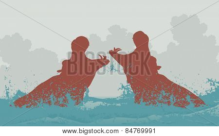 Editable vector illustration of two hippopotamuses fighting in water