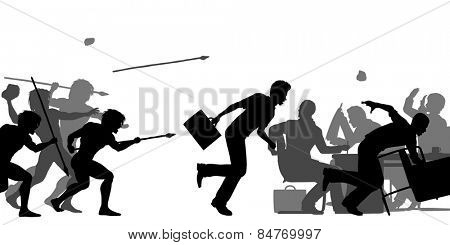 Editable vector silhouettes of cavemen attacking a business meeting with all elements as separate objects